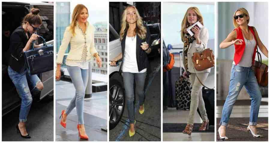 celebrities jeans heels