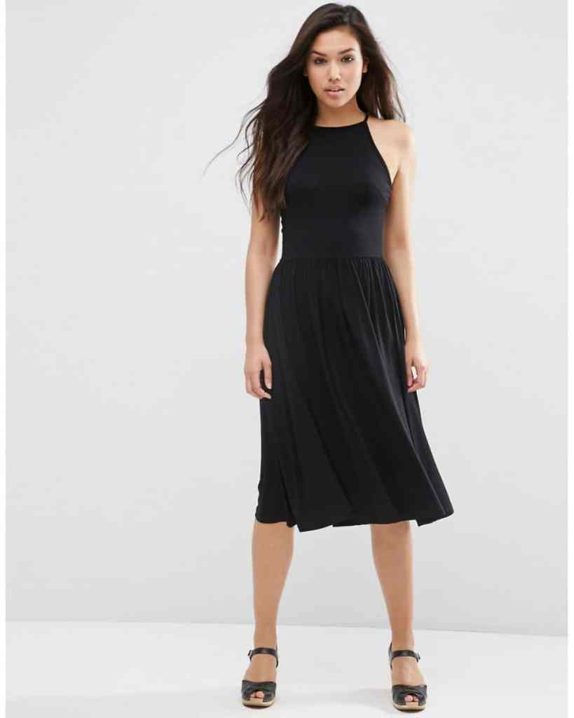 ASOS black empire seam midi dress