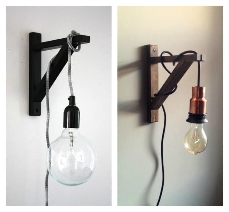 DIY industrial style bracket lamp