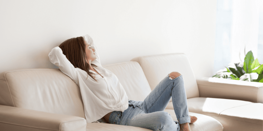 woman relaxing on a weekend