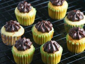 Mini Vanilla Cupcakes with Cocoa Buttercream