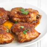 Soymustard chicken are fried pieces of chicken thighs smothered in a rich, sweet and salty sauce.
