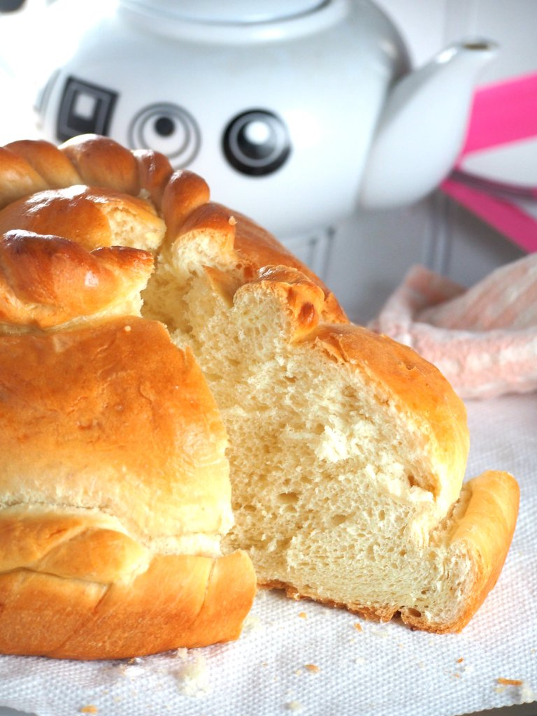 Sweet Greek bread is like a brioche that is soft, egg rich and buttery.