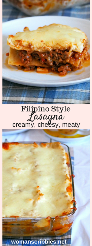 Filipino Style Lasagna is sweet, cheesy and creamy. It is a rich lasagna pasta made with saucy ground beef meat sauce layered with a creamy bechamel sauce and finally topped with lots of mozzarella cheese.