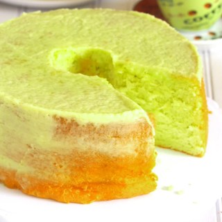 A very soft pandan chiffon cake that is pleasantly flavored with pandan essence. It is a light chiffon with a very delicate, airy texture that you will love.