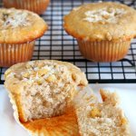 These cinnamon muffins have tender and moist crumbs and topped with crunchy sweet walnuts crumbs