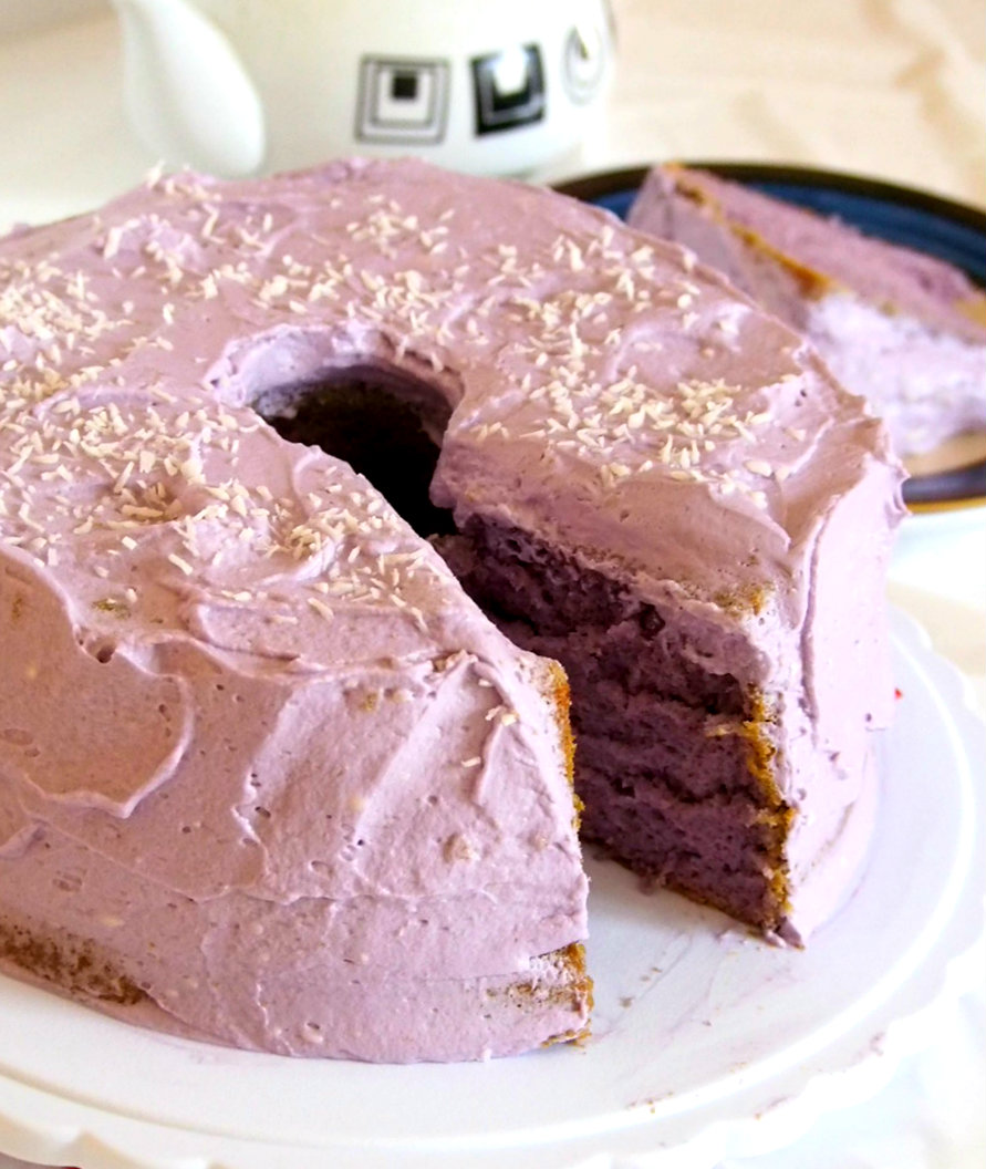 Ube Chiffon Cake is a soft, moist and fluffy cake that is frosted with whipped cream cheese icing and topped with some shredded coconut. It is a perfect cake to serve to a party or potluck.