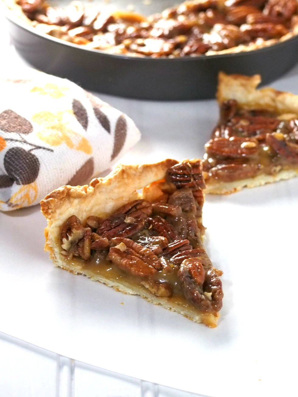 The best pecan pie ever. Just moderately sweet and loaded with crunchy pecan goodness.