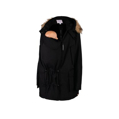 Bandicoot Mens Babywearing Jacket Black With Collar Front