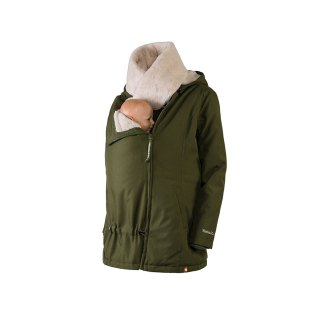 Wombat Wallaby babywearng and maternity jacket green with baby and collar