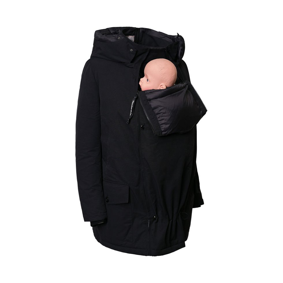 Convertible Koala Pregnancy and Babywearing Parka in front babywearing mode