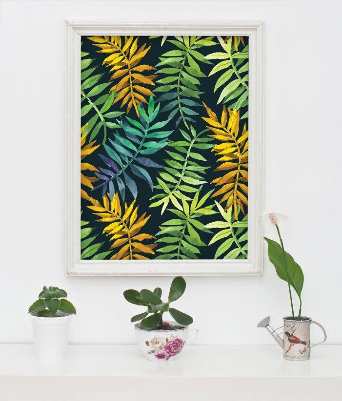 עלים צבעוניים - פוסטר למסגור של קרן דניס