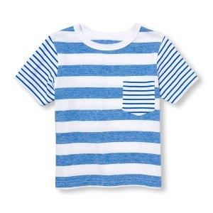 חולצת טי שרט פסים כחול לבן לבנים