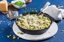 ריזוטו מפסטה קטנה עם ירקות ירוקים וגבינות