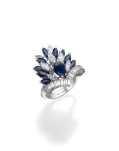 טבעת אבן ספיר ויהלומים - תכשיטי בלום