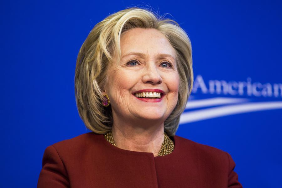 """Former U.S. Secretary of State Hillary Clinton takes part in a Center for American Progress roundtable discussion on """"Expanding Opportunities in America's Urban Areas"""" in Washington."""
