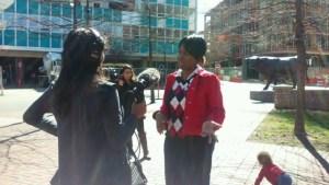 Women AdvaNCe team member NaShonda Cooke speaks with media at Women's Advocacy Day.