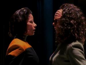 "Human and Klingon B'Elannas in ""Faces"""