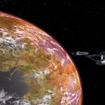 the Enterprise orbiting a planet