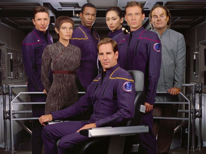 T'Pol with the Enterprise crew