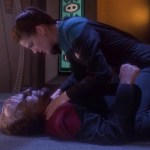 "Dax on top of Worf after fighting in ""Looking for Par'Mach in All the Wrong Places"""