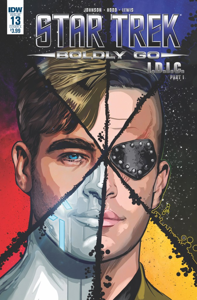 Cover of Boldly Go 13 showing Kirk's face split into 6