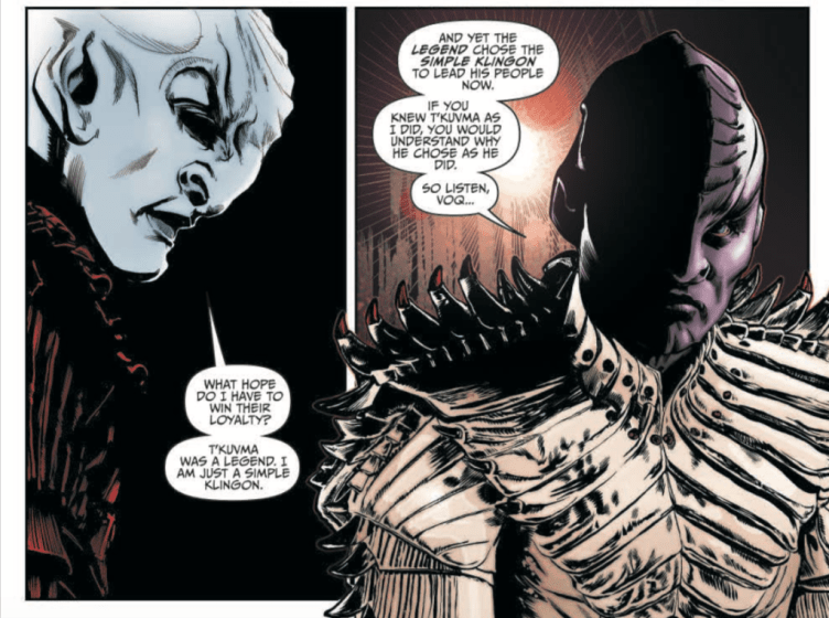 L'Rell begins to tell Voq T'Kuvma's story