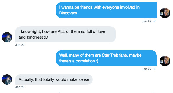Twitter conversation about love of Discovery
