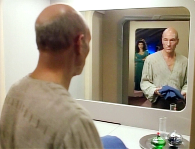 "Picard looks in the mirror in ""Family"""