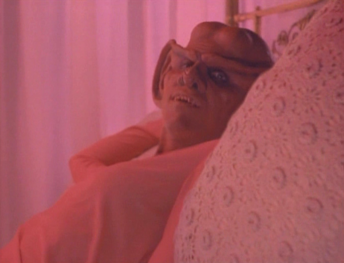 "Quark's head on a woman's body in ""Meridian"""