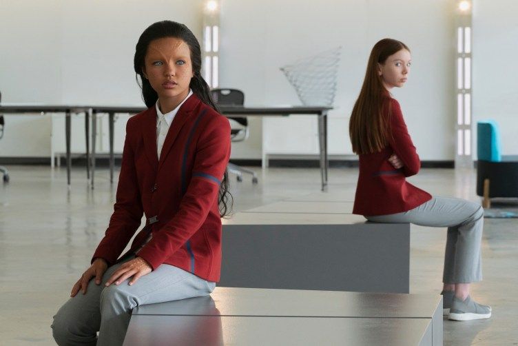 Two girls in futuristic school uniforms