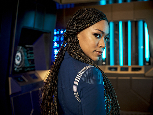 Burnham in her Discovery uniform with her season 3 braided hairstyle