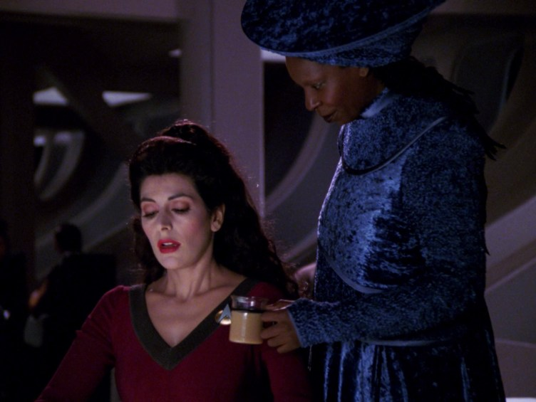 """Guinan comforts Troi in """"The Loss"""""""
