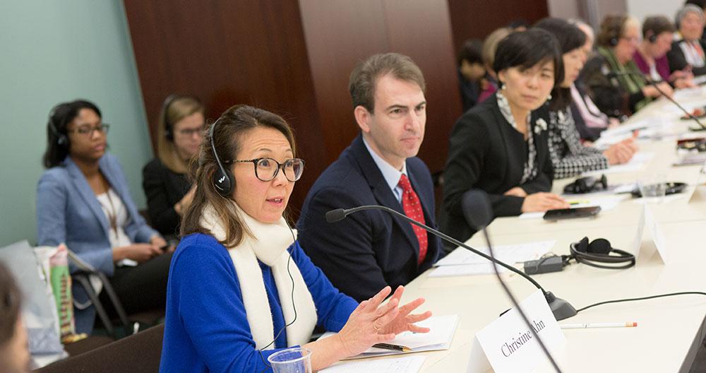 Christine Ahn addressing panel