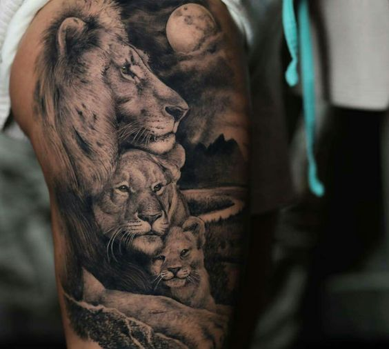 A pack of lions design Lion Tattoo