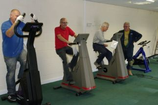 Pete, Mick, Reg & Pete trying out the equipment.