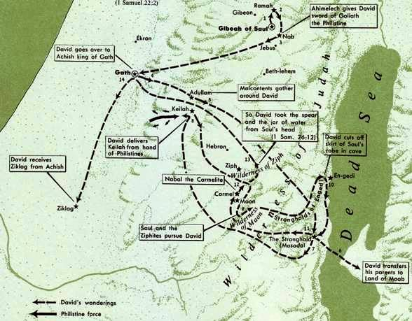 Abogail in the Bible: Map showing location of events in David's life