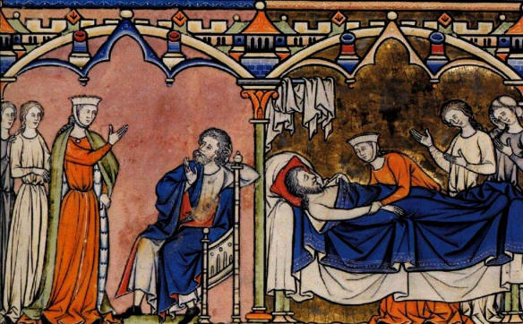 Abigail, David in the Bible: Abigail tells Nabal what she has done, Nabal dies; medieval manuscript