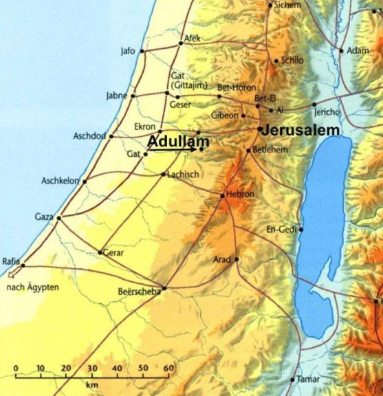 Abigail in the Bible: Location of Adullam, where David and his followers lived in a cave
