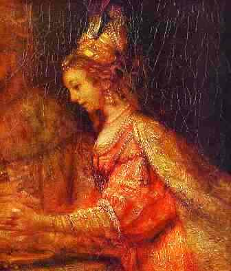 Rembrand's painting of Esther, detail