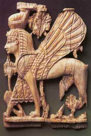 Bible queen Athaliah. Ivory carving of a winged cherub