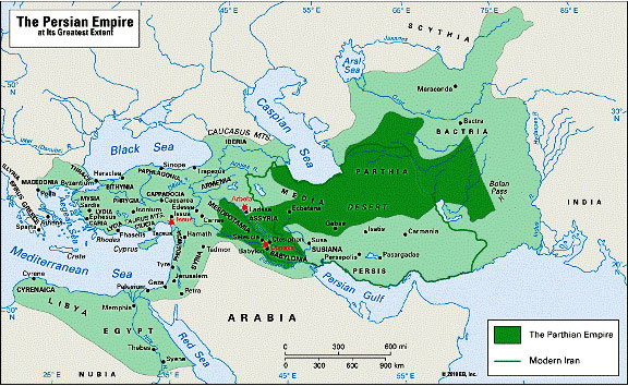 Map of the Persian Empire at its greatest extent