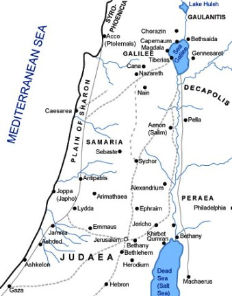 Map of Samaria, Galilee and Judaea