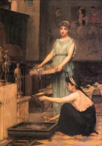 BIBLE WOMEN: RACHEL: John William Waterhouse, The Household Gods. The image shows women in the Greco-Roman period, later than Rachel's time, but it captures the daily homage given to household icons.