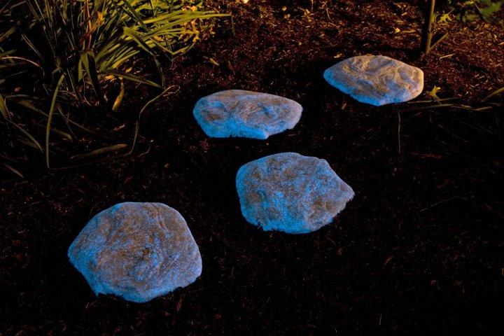 Glow in the dark rocks pathway