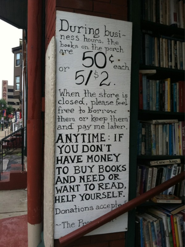 Bookshop owner giving away books for free