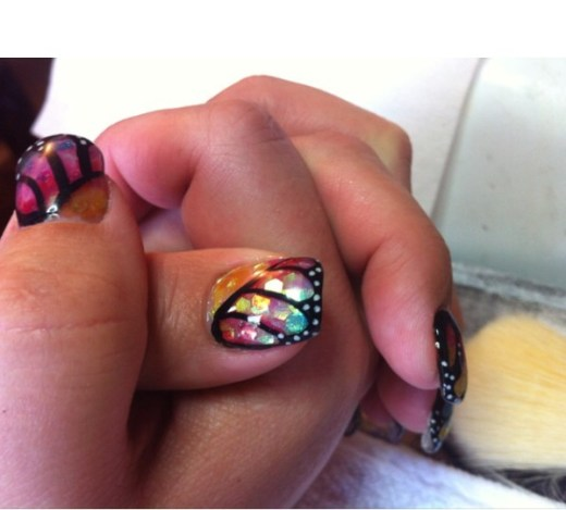 Cute butterflies gel nail design art