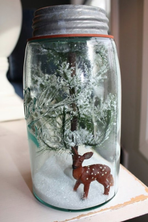 Beautiful snowglobe from mason jars