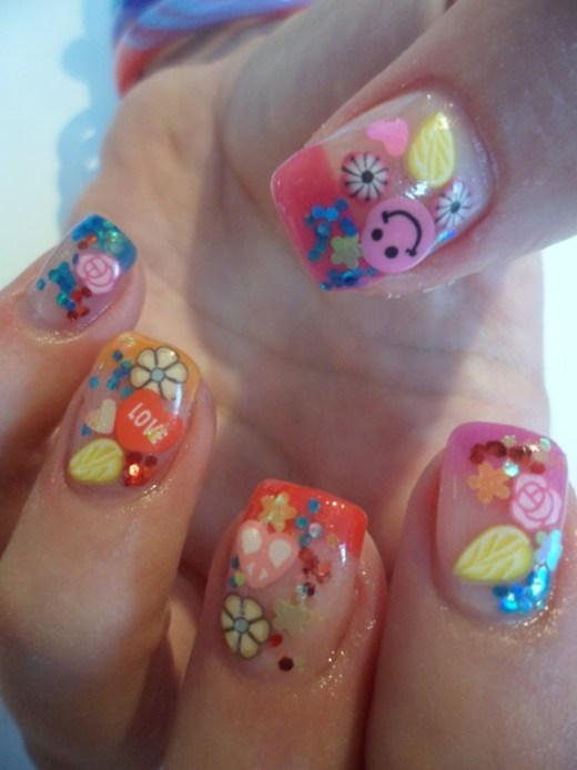Colorful spring gel nail design art