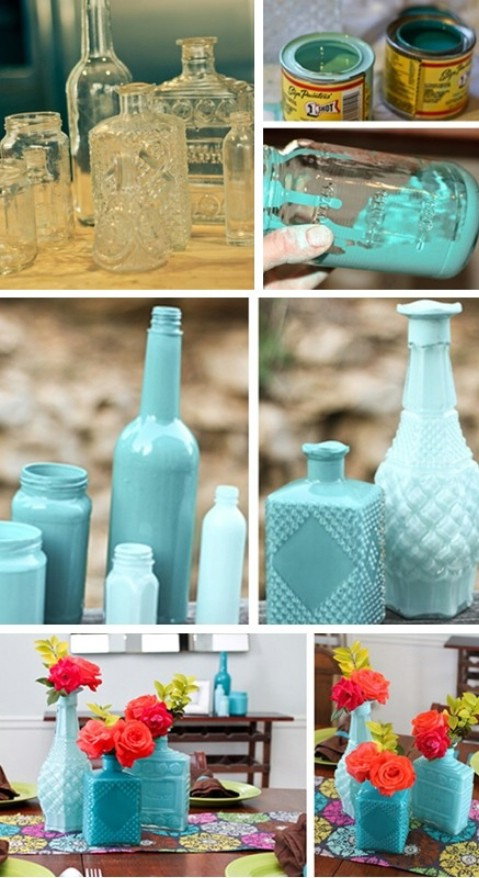 DIY Painted jar vases